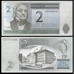 ESTONIA 2 KROONI 2007 K.E. VON BAER y PARLAMENTO Pick 85B BILLETE SC ESTONIE PRE-EURO UNC BANKNOTE