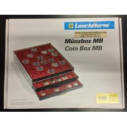 @OFERTA@ BANDEJA LEUCHTTURM MB 48 x 48 mm Color GRANATE para MONEDAS TIPO 1 ONZA EN PLATA 10 YUAN, 1 DOLAR...