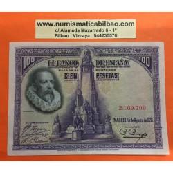 ESPAÑA 100 PESETAS 1928 MIGUEL DE CERVANTES Sin Serie 2169799 Pick 76 BILLETE MBC+ Spain banknote