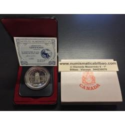 CANADA 1 DOLAR 1977 TRONO DEL SENADO JUBILEO KM.118 MONEDA DE PLATA SC ESTUCHE Silver dollar THRONE OF THE SENATE