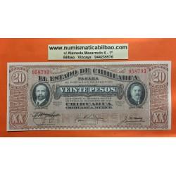 MEXICO 20 PESOS 1915 ESTADO DE CHIHUAHUA REVOLUCION MEXICANA Pick S.537B BILLETE SC @MARGENES@ Mejico UNC BANKNOTE