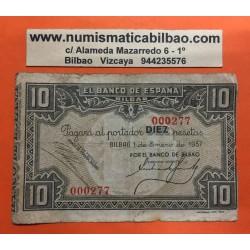 @OFERTA@ BILBAO 10 PESETAS 1937 BANCO DE BILBAO @BAJISIMO NUMERO DE SERIE 000277@ Pick S.562 BILLETE EUSKADI