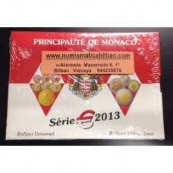 MONACO CARTERA OFICIAL EURO 2013 BU SET 1+2+5+10+20+50 Centimos + 1+ 2 EUROS 2013 REY ALBERTO I + 2 EUROS 2013 ONU @RARAS@