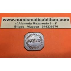 BILBAO MATIKO 25 CENTIMOS 1937 1939 FICHA DE COOPERATIVA TRABAJADORES VASCOS MONEDA DE COBRE SC- GUERRA CIVIL EUSKADI