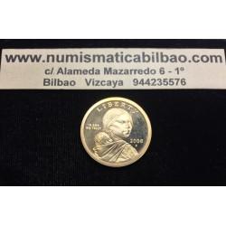 @RARA@ ESTADOS UNIDOS 1 DOLAR 2008 S INDIA SACAGAWEA KM.310 MONEDA DE LATON PROOF US $1 DOLLAR COIN