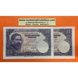 ESPAÑA 25 PESETAS 1954 ISAAC ALBENIZ Serie I Pick 147 @PAREJA CORRELATIVA@ BILLETE SIN CIRCULAR SC PLANCHA Spain banknote