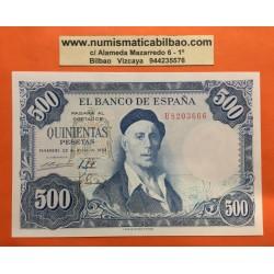 ESPAÑA 500 PESETAS 1954 PINTOR IGNACIO ZULOAGA Serie U 8203666 Pick 154 BILLETE SIN CIRCULAR @DOBLEZ CENTRAL@ Spain banknote