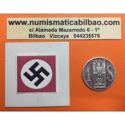 @RARA@ AUSTRIA 1 SCHILLING 1936 AGUILA y ESVASTICA ALEMANIA NSDAP DONACION NAVIDEÑA PARA EL PARTIDO FICHA NAZI ALUMINIO @LUJO@