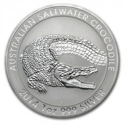 AUSTRALIA 1 DOLAR 2014 COCODRILO MONEDA DE PLATA SC 1 ONZA Oz OUNCE SILVER Saltwater Cocodrile