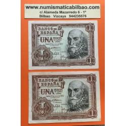 @OFERTA PAREJA@ ESPAÑA 1 PESETA 1953 MARQUES DE SANTA CRUZ Pick 144 Serie W 2 BILLETES CIRCULADOS