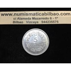 FRANCIA 5 FRANCOS 1949 DAMA LAVRILLIER KM.888.B MONEDA DE ALUMINIO SC- France Francs
