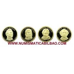 @OFERTA@ ESTADOS UNIDOS 4 monedas x 1 DOLAR 2008 S PROOF MONROE + VAN BUREN + ADAMS + JACKSON