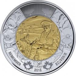 CANADA 2 DOLARES 2015 REMEMBRANCE DAY MILITAR ESCRIBIENDO KM.NEW MONEDA BIMETALICA $2 Dollars coin