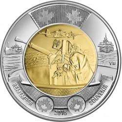 CANADA 2 DOLARES 2016 CAÑON DE BARCO ACORAZADO BATTLE OF THE ATLANTIC KM.NEW MONEDA BIMETALICA $2 Dollars coin