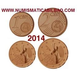 @RARAS@ ANDORRA MONEDAS 1 CENTIMO 2014 + 2 CENTIMOS 2014 CABRA MONTESA COBRE SC @MUY RARAS@ TIRADA 70.000 uds EURO COIN EUROS
