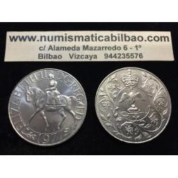 INGLATERRA 25 PENIQUES 1977 JUBILEO DE ISABEL II A CABALLO KM.920 MONEDA DE NICKEL SC UK 25 Pence Silver Jubilee