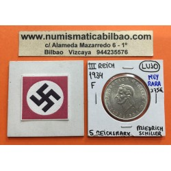 @MUY RARA@ ALEMANIA 5 MARCOS 1934 F FRIEDRICH SCHILLER KM.85 MONEDA NAZI DE PLATA SC III REICH 5 Reichsmark