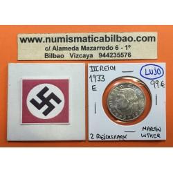 ALEMANIA 2 MARCOS 1933 E MARTIN LUTHER KM.79 III REICH NAZI @RARA@ MONEDA DE PLATA @LUJO@ Reichsmark 1933 silver coin