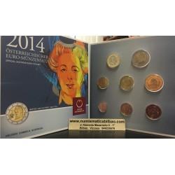 AUSTRIA CARTERA OFICIAL EUROS 2014 SC 1+2+5+10+20+50 Centimos + 1 EURO + 2 EUROS 2014 UNC BU SET KMS Österreich