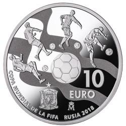ESPAÑA 10 EUROS 2017 COPA MUNDIAL DE LA FIFA 2018 EN RUSIA MONEDA DE PLATA ESTUCHE y CERTIFICADO FNMT