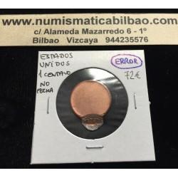 @ERROR MUY RARO@ ESTADOS UNIDOS 1 CENTAVO Sin Fecha ABRAHAM LINCOLN KM.201 MONEDA DE COBRE USA 1 Cent OFF CENTER MULE
