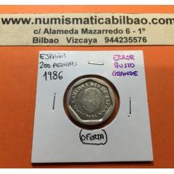 @ERROR BUSTO GRANDE@ ESPAÑA 200 PESETAS 1986 REY JUAN CARLOS I MONEDA DE NICKEL SC- @ERROR CATALOGADO@