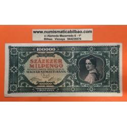 HUNGRIA 100000 PENGO 1946 DAMA EPOCA HIPER INFLACION Pick 127 BILLETE MBC++ HUNGARY BANKNOTE