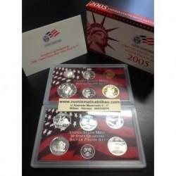 2005 UNITED STATES MINT SILVER PROOF SET 10 COINS ESTADOS UNIDOS 1+5+10+25 CENTAVOS + 1/2 DOLAR + 1 DOLAR PLATA