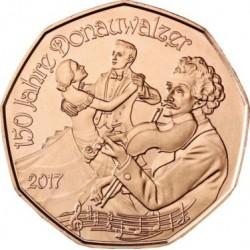 AUSTRIA 5 EUROS 2017 VALS EL DANUBIO AZUL 150 ANIVERSARIO MONEDA DE COBRE SC Osterreich Euro Coin