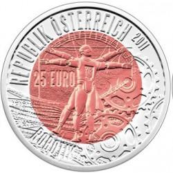 AUSTRIA 25 EUROS 2011 ROBOTICA ROBOTIK MONEDA DE PLATA y NIOBIO ESTUCHE OFICIAL ÖSTERREICH NIOB SILVER COIN