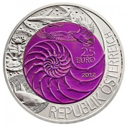 AUSTRIA 25 EUROS 2012 BIONICA BIONIK MONEDA DE PLATA y NIOBIO ESTUCHE OFICIAL ÖSTERREICH NIOB SILVER COIN