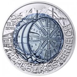 AUSTRIA 25 EUROS 2013 TUNELES MONEDA DE PLATA y NIOBIO ESTUCHE OFICIAL Österreich Niob & Silver coin TUNNELBAU