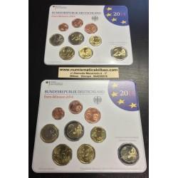 ALEMANIA MONEDAS EURO 2014 Letra J 1+2+5+10+20+50 Centimos + 1 EURO + 2 EUROS SERIE SIN CIRCULAR