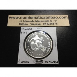 CANADA 1 DOLAR 1983 UNIVERSIADA DE EDMONTON KM.138 MONEDA DE PLATA PROOF $1 Dollar silver coin