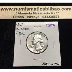 ESTADOS UNIDOS 1/4 DOLAR 1956 WASHINGTON BICENTENARIO 1776 KM.164 MONEDA DE PLATA EBC USA Quarter silver