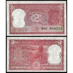INDIA 2 RUPIAS 1977 1982 TIGRE DE BENGALA Pick 53 BILLETE SC @AGUJERITOS DE GRAPAS@ UNC BANKNOTE