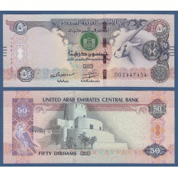 EMIRATOS ARABES UNIDOS 50 DIRHAMS 2014 ANTILOPE y MONUMENTO Pick 29 BILLETE SC UNITED ARAB EMIRATES UAE BANKNOTE