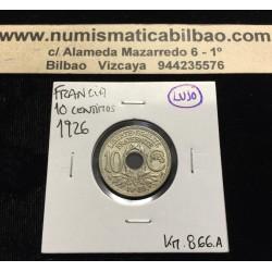 FRANCIA 10 CENTIMOS 1926 VALOR Tipo LINDAUER KM.866.A MONEDA DE NICKEL SC France 10 Centimes