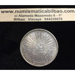 MEXICO 1 PESO 1900 FZ Ceca de ZACATECAS Zs GORRO FRIGIO KM.409.3 MONEDA DE PLATA @RARA@ Mejico Cap & Rays
