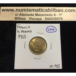 FRANCIA 10 FRANCOS 1951 B GALLO y DAMA Tipo GUIRAUD KM.915.1 MONEDA DE LATON SC France Francs
