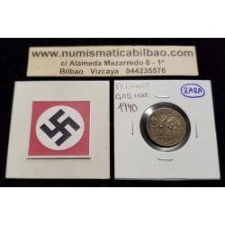 ALBANIA 0,05 LEK 1940 VITTORIO EMANUELLE III KM.XXXX @RARAA@ MONEDA DE LATON OCUPACION NAZI III REICH WWII 0.05 LEKE