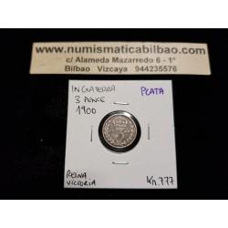 INGLATERRA 3 PENIQUES 1900 REINA VICTORIA KM.777 MONEDA DE PLATA MBC UK 3 Pence silver coin