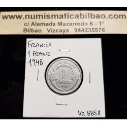 FRANCIA 1 FRANCO 1948 MORLON KM.885A MONEDA DE ALUMINIO MBC++ France 1 Franc