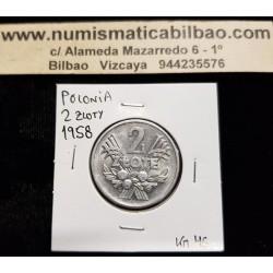POLONIA 2 ZLOTE 1958 AGUILA y VALOR KM.46 MONEDA DE ALUMINIO EBC+ Poland 2 Zloty Zlotych ZL