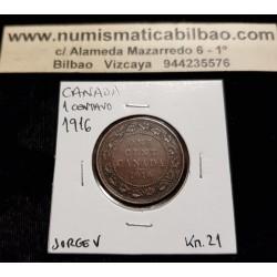 CANADA 1 CENTAVO 1916 REY JORGE V y VALOR KM.21 MONEDA DE COBRE MBC+ 1 Cent