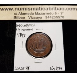 INGLATERRA 1/2 PENIQUE 1945 BARCO VELERO JORGE VI KM.844 MONEDA DE BRONCE MBC+ UK Half Penny coin WWII