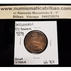 INGLATERRA 1/2 PENIQUE 1891 BRITANNIA REINA VICTORIA KM.755 MONEDA DE BRONCE MBC UK Half Penny coin