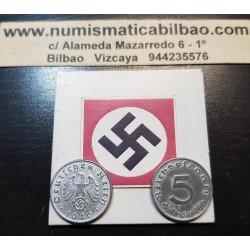 @OFERTA@ ALEMANIA 5 REICHSPFENNIG 1940/1941/1942/1943/1944 ESVASTICA NAZI III REICH KM.100 ZINC