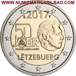 @AGOTADA y RARA@ LUXEMBURGO 2 EUROS 2017 SERVICIO MILITAR VOLUNTARIO 50 ANIVERSARIO SC MONEDA CONMEMORATIVA Luxembourg