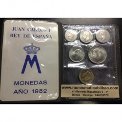 ESPAÑA CARTERA 1982 SC : 1 + 2 + 5 + 25 + 50 + 100 PESETAS 1982 JUAN CARLOS I SIN CIRCULAR 6 MONEDAS